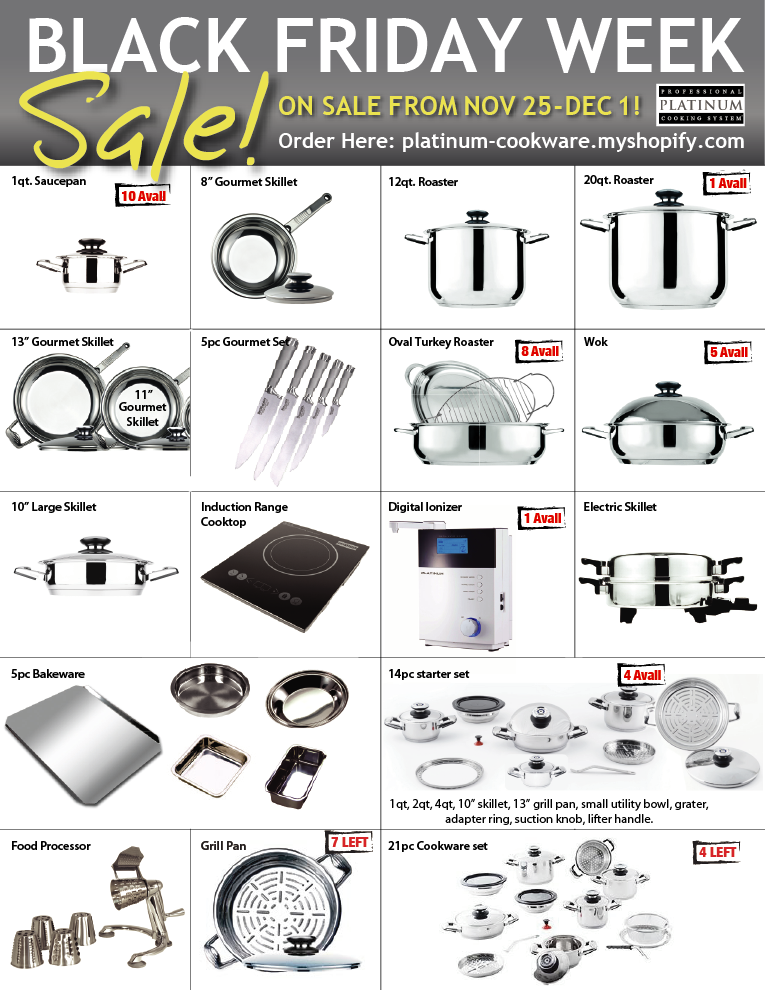 Black Friday, 2019. platinum, cookware, black, friday, sale, deal, thanksgiving,